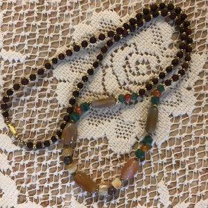 Wooden/semi-precious stone beaded necklace